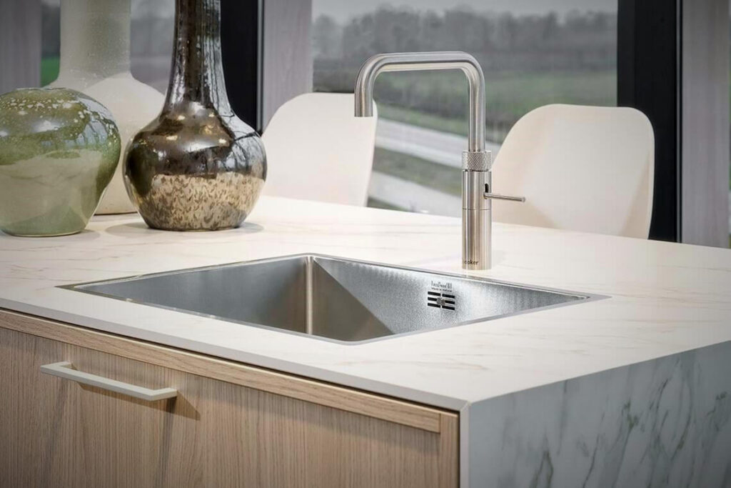 ceramic kitchen countertop with stainless steel